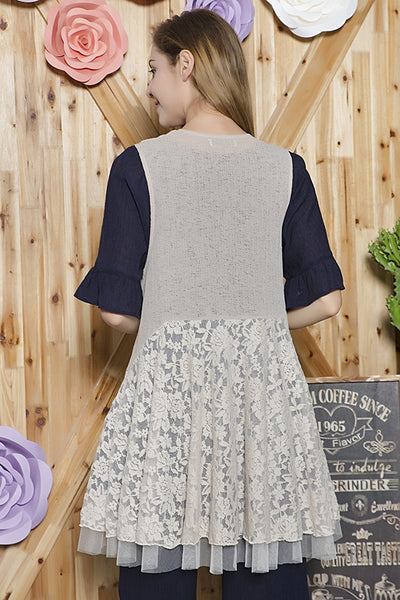 SB-116   Lace and Light Knit Mix Vest