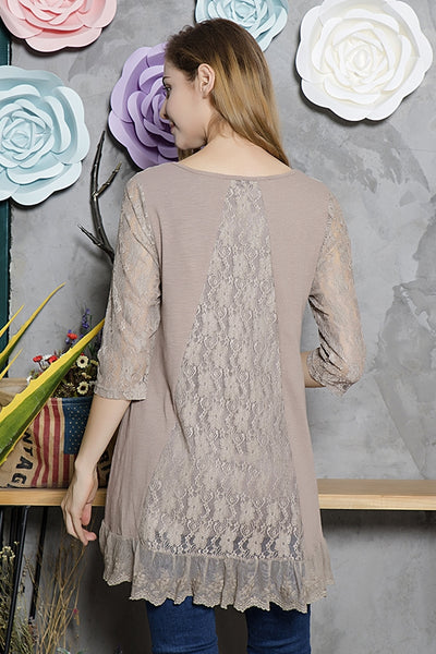 SB-526   Lace Sleeve Detail Tunic