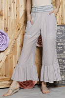 SB-366 Ruffle Accent Pants w/ Fold Over Waist