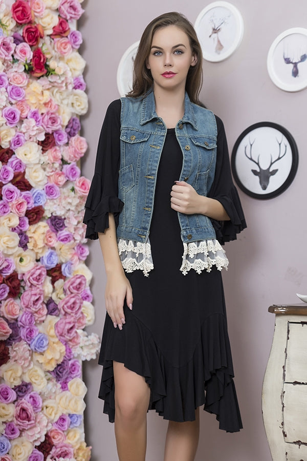 SB-011H   Denim & Lace Vest
