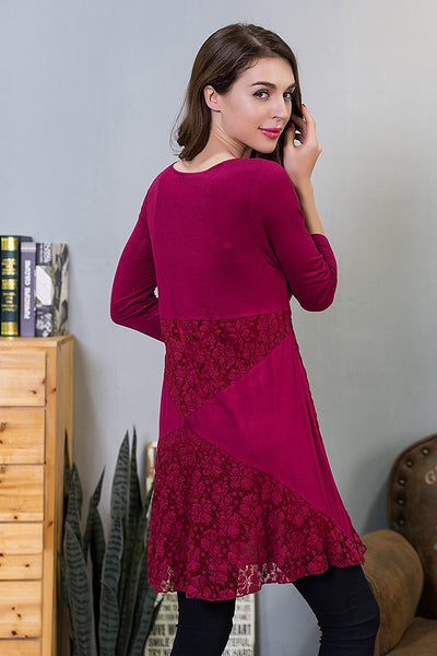 SB-218   Lace Mix Knit Tunic