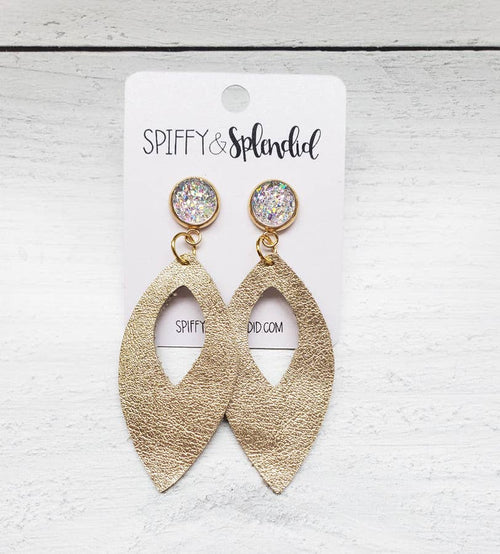 404   Rhiannon Gold Leather Druzy Earrings