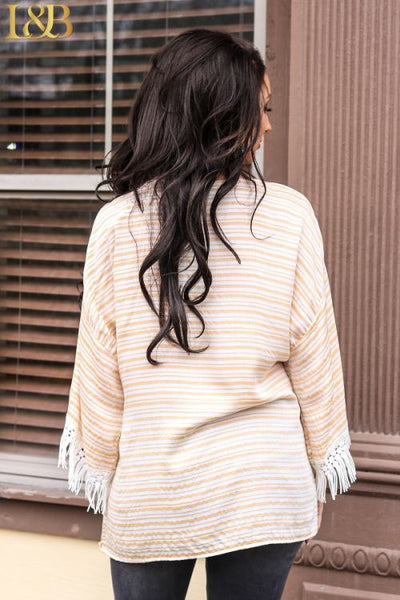 31967   Aubrey Peach Stripe Top