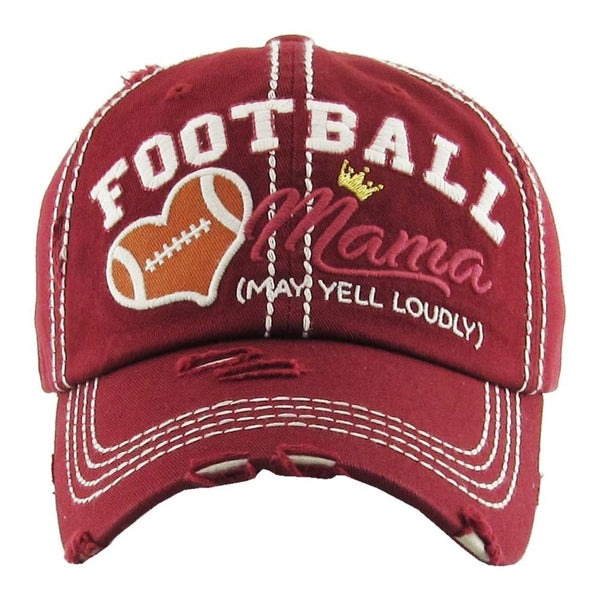 "720690   Embroidered ""Football Mama"" Distressed Ball Cap"