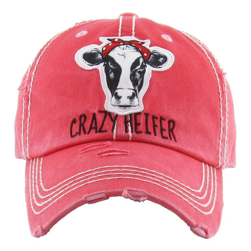 "720759   Embroidered ""Crazy Heifer"" Distressed Hat"