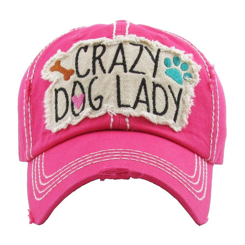 7212XX   Crazy Dog Lady Distressed Baseball Hat