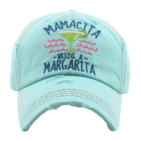 "72124X   ""Mamacita Needs a Margarita"" Distressed Baseball Hat"