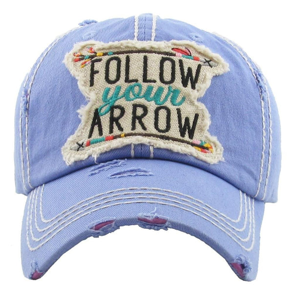72125X   Follow Your Arrow Distressed Baseball Hat