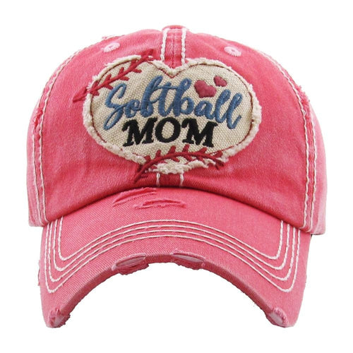 72126X   Softball Mom Distressed Baseball Hat