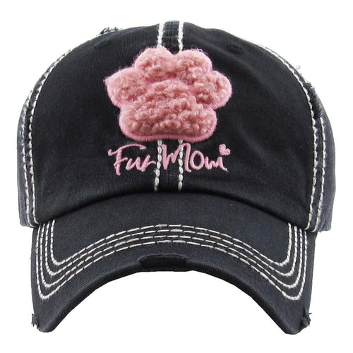 72131X   Fur Mom Distressed Baseball Hat