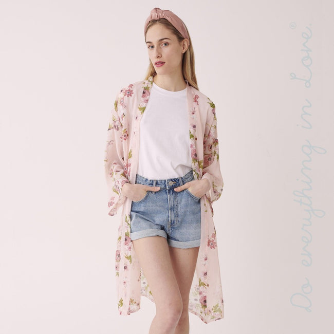 7305531   Do everything in Love brand women's lightweight long sleeve sheer floral kimono