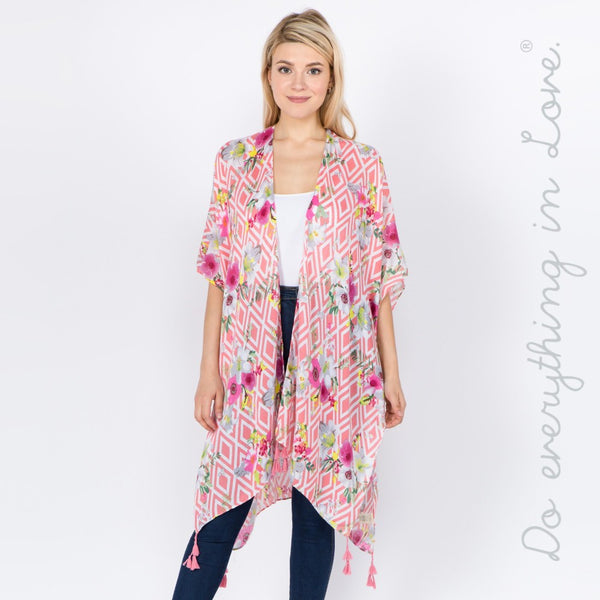 7305653  Do everything in Love brand women's lightweight geometric floral kimono with tassels