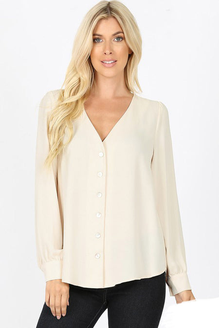 62716   Chloe Striped V-Neck Blouse
