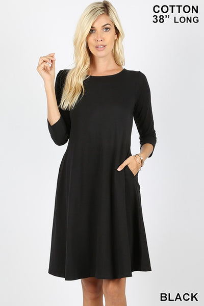 4596   Carla 3/4 Sleeve A-line Dress
