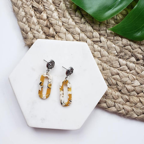 0421   LaKeisha Acrylic & Druzy Earrings