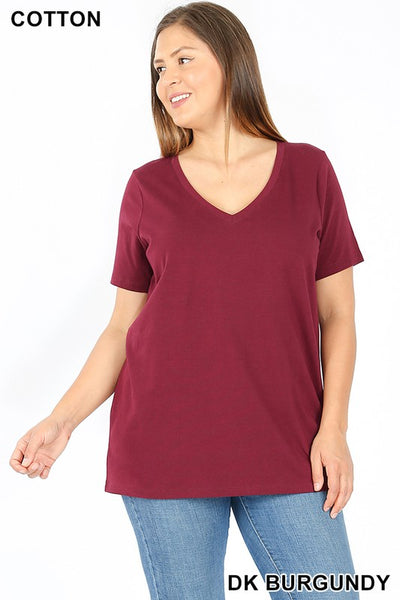 1009   Andrea Cotton V-neck T-Shirt