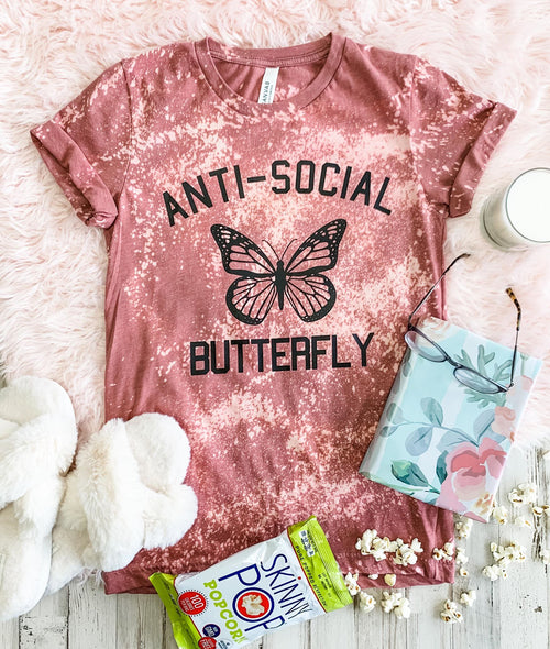 316   Blanche Anti-Social Butterfly Graphic T-Shirt
