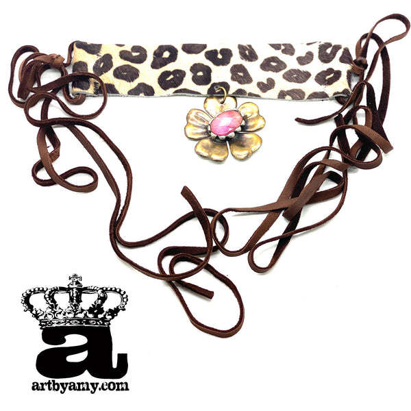 0658   Amy Leopard Flower Choker Necklace by Art by Amy