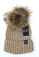 CC Beanie - Black Label Cable Knit Ribbed Matching Pom