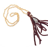 0636   Snowbird Beaded Tassel w/ Feather Necklace by Amy Labbe