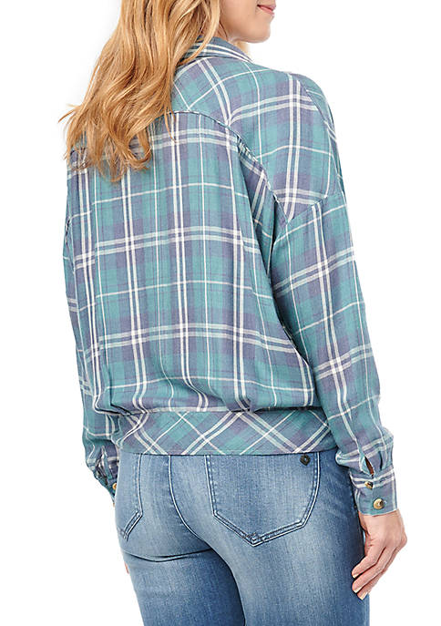 0087   Tana Tie Front Plaid Top