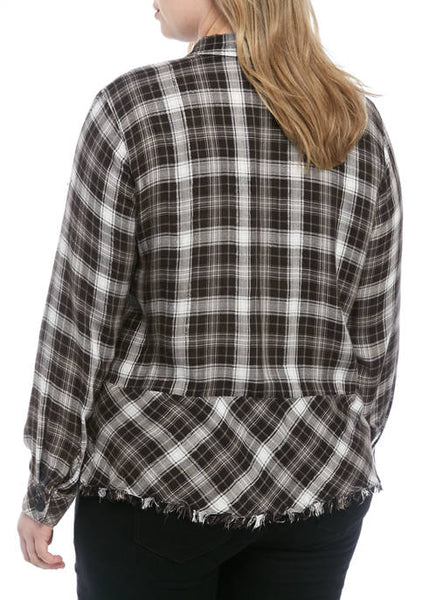 0695   Josie Plaid Peplum Top