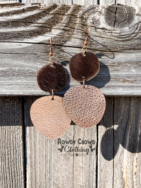 832   Janie Chic Cowhide Earrings