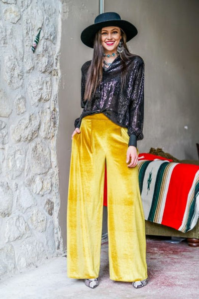 1231   Roxy Gold Velvet Straight Leg Pants