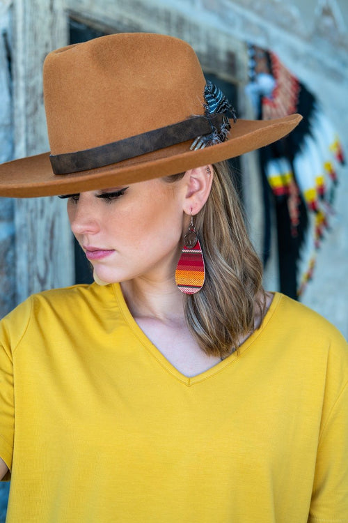 014201   Olivia Red Serape Teardrop Earrings w/ Coin Detail