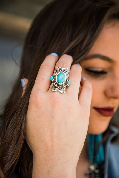 04423   Jana Adjustable Ring w/ Turquoise