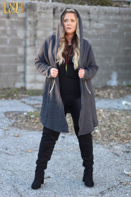 1890   Sesely Charcoal Grey Hooded Sweatshirt Duster