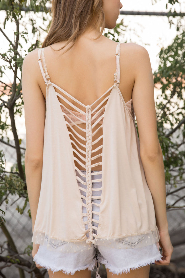 822   Amee Jersey Plunging Ladder V-Neck Top