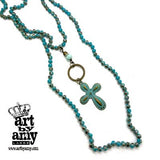 0641   Lauri Verdigris Cross Necklace