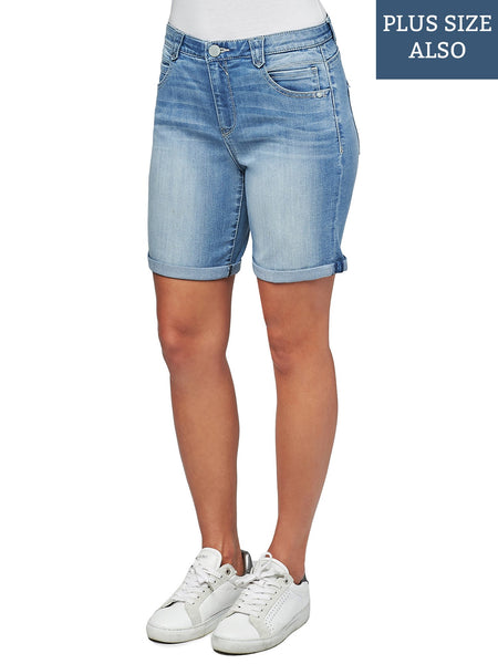 1532   Jorrie Distressed Button Fly Acid Wash Shorts