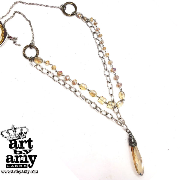 0626   Charlene Champagne Rain Necklace by Amy Labbe