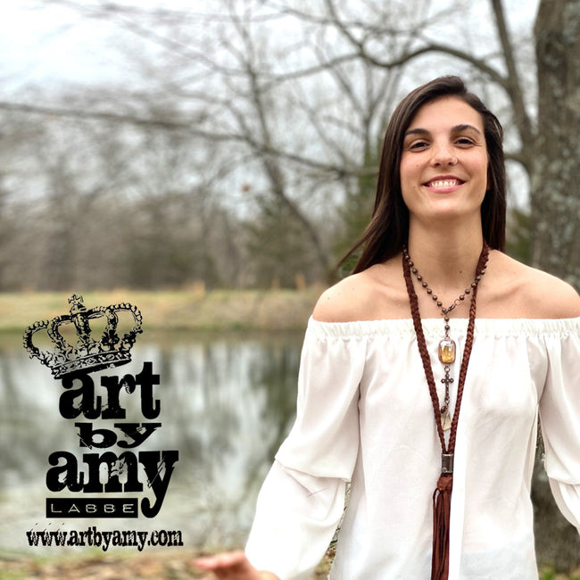 0652   Lana Copper Cross Lariat Necklace by Art by Amy