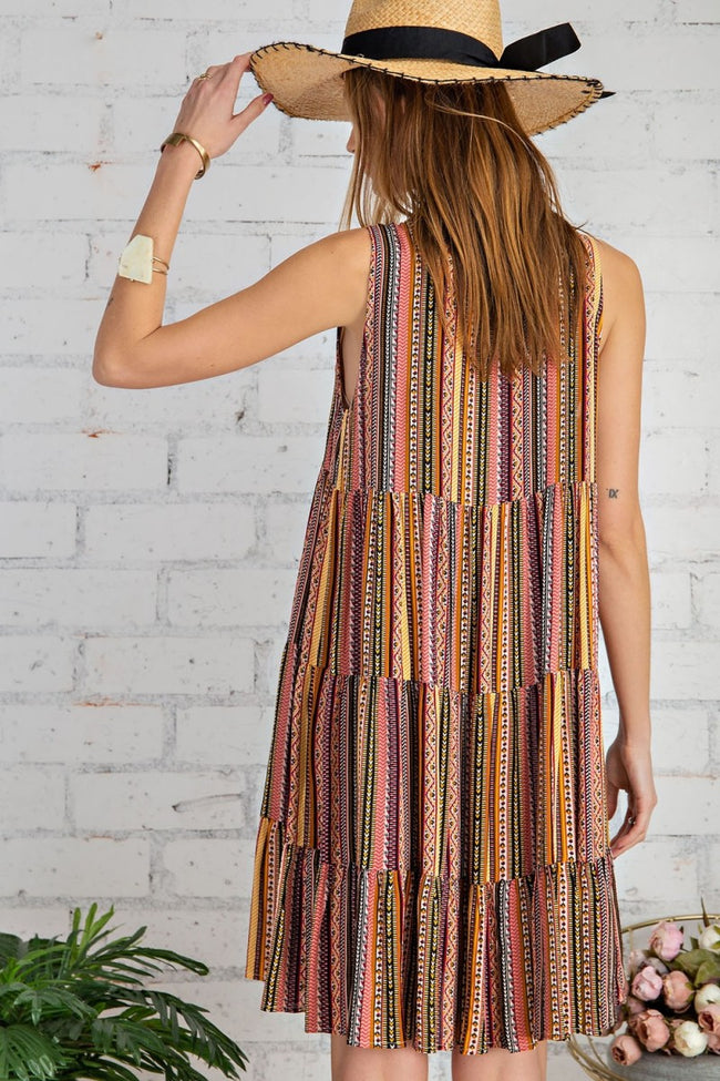 14681   Enola Sleeveless Tribal Print Dress