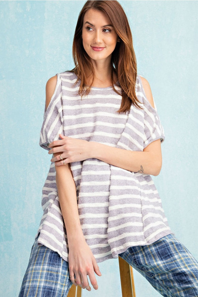 11657   Jordy Cold Shoulder French Terry Stripe Top