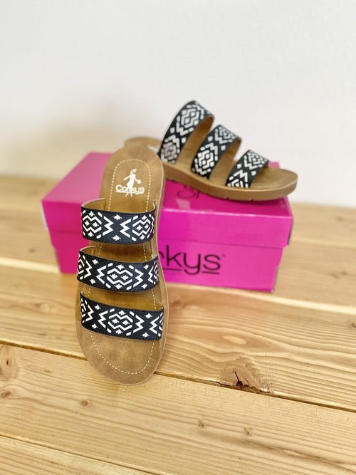 415113   Dafne Black & White Aztec by Corky's Footwear