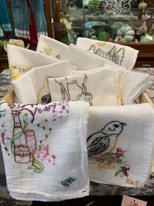 BW-101   Hand Embroidered Tea Towels by Betty Winn
