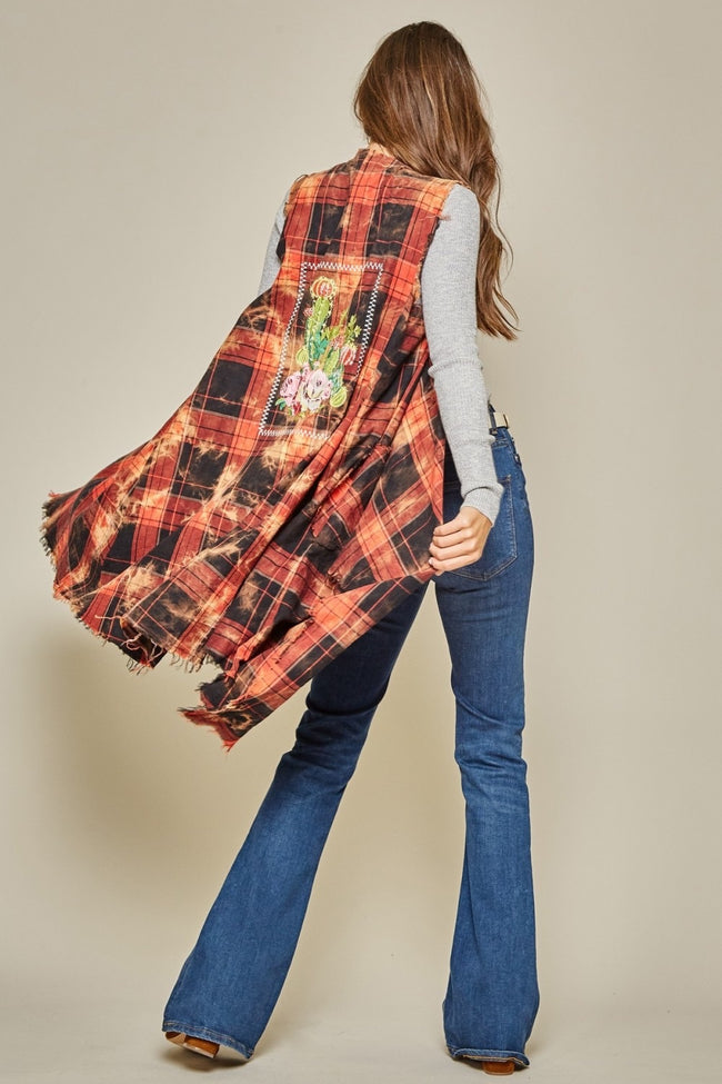 15751   Jalisa Plaid Vest w/ Embroidery