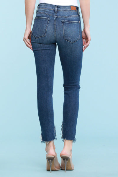 "82148   Carly 27"" Inseam Frayed Diagonal Hem Skinny Jeans by Judy Blue"