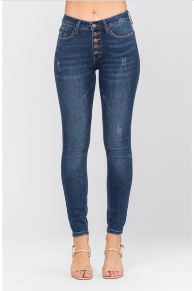 8855   Candi Button Fly Non-Distressed Jeans