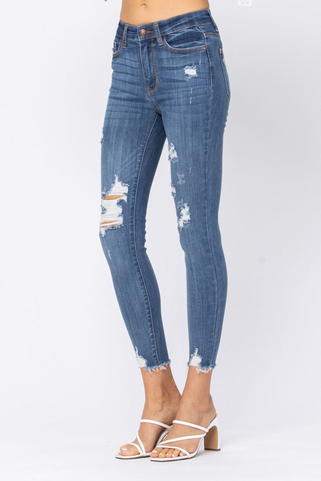82202   Virgie High Rise Cropped Distressed Judy Blue Jeans