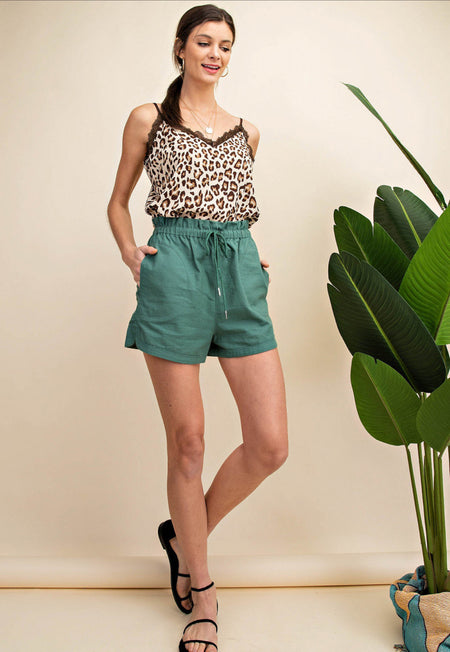 042855   April Olive Denim Shorts