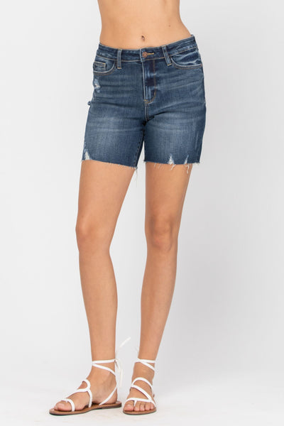 150051   Thelma High Rise Mid-Thigh Judy Blue Jeans Shorts
