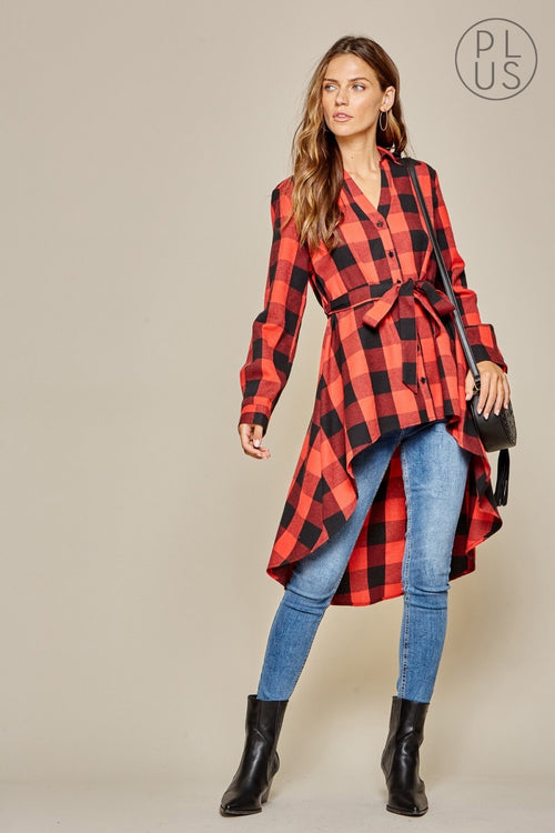 17683   Cathy Hi/Lo Buffalo Plaid Tunic