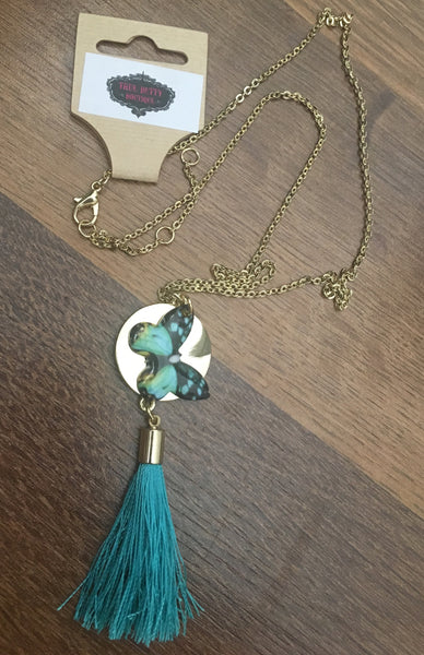 TB-702   Butterfly Tassel Necklace