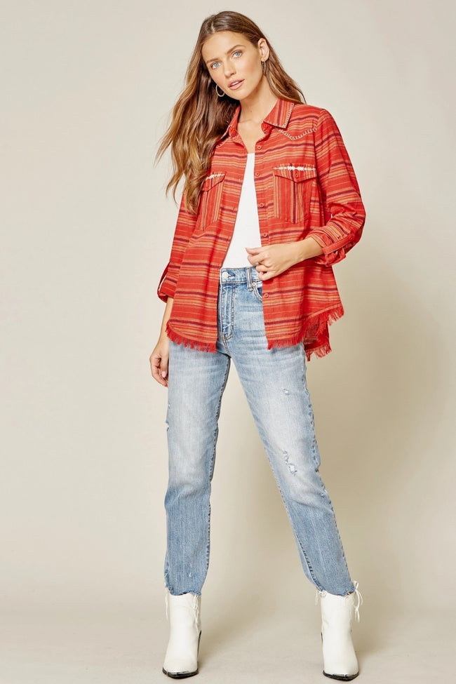 17262   Tessa Red Serape Shirt