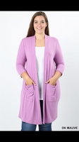 ZN-1439   3/4 Sleeve Mid-Length Slouchy Pocket Cardigan